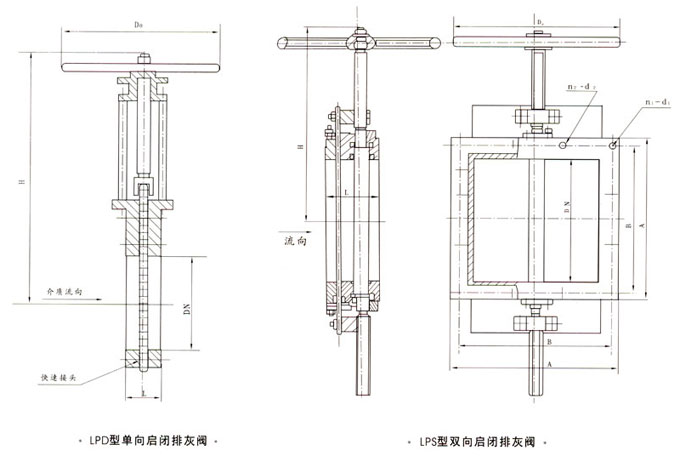 lpd/s单(双)向启闭排灰阀外形结构尺寸图