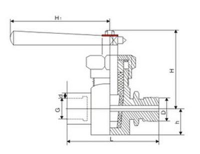 x13h二通内外螺纹压力表旋塞阀外形结构尺寸图