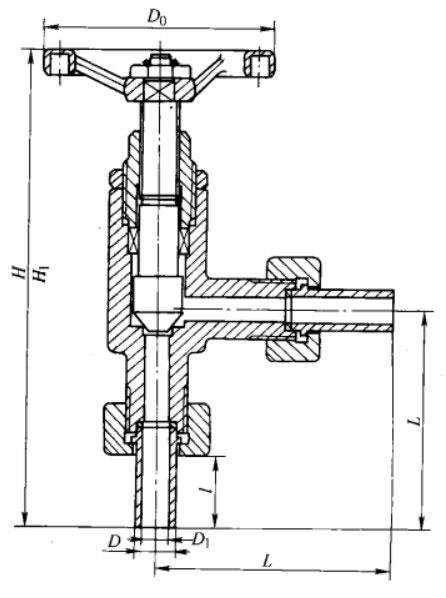 pn40钢制外螺纹联接角式截止阀主要外形及结构尺寸图
