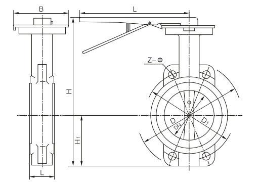 蝶阀 d71x5手柄对夹式软密封液压油专用蝶阀  注:以上蝶阀的连接尺寸图片